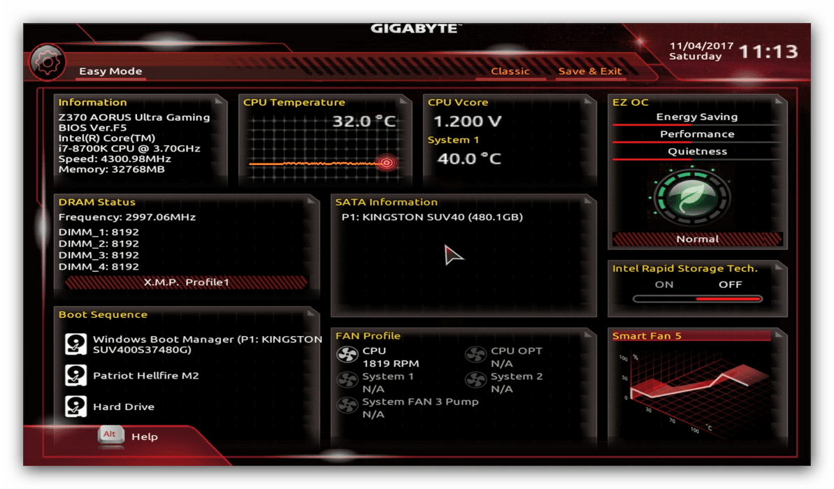 Настройка биоса Gigabyte