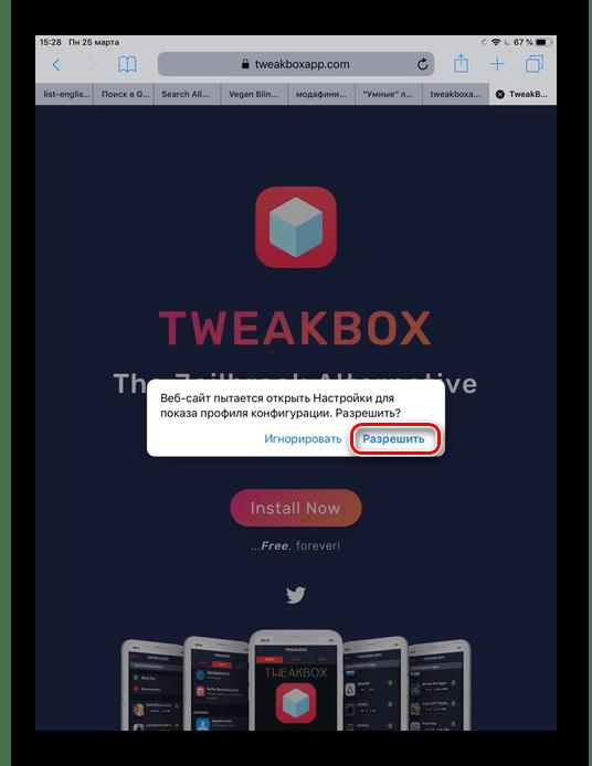 Нажатие по кнопке Разрешить при установке приложения TweakBox на iPad