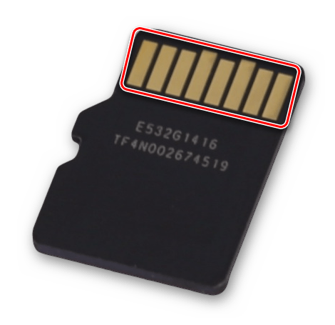 Очистка контактов карты памяти SD microSD