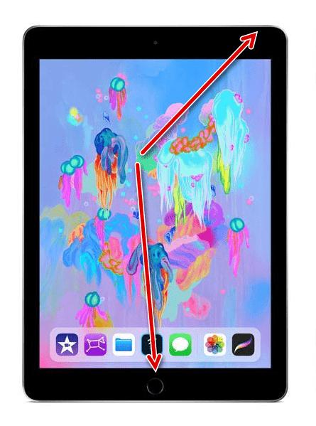 Одновременное нажатие кнопок Домой и Питание для жесткой перезагрузки iPad