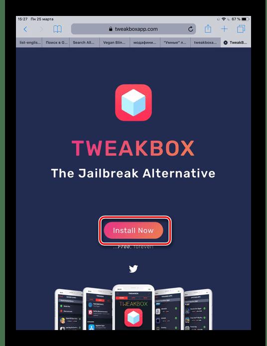 Переход на официальный сайт TweakBox и скачивание приложения на iPad