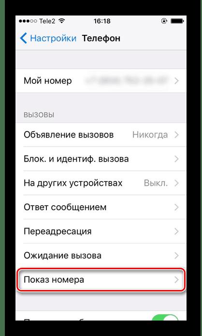Переход в подраздел Показ номера в настройках iPhone для активирования функции скрытия телефонного номера