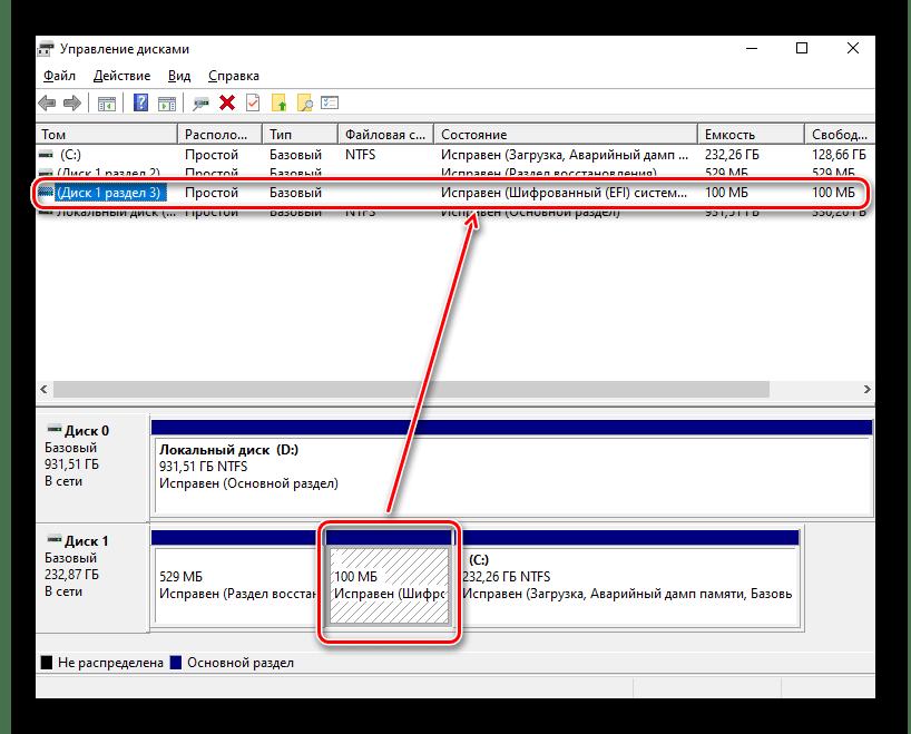 Просмотр режима Legacy BIOS или UEFI материнской платы через Управление дисками в Windows