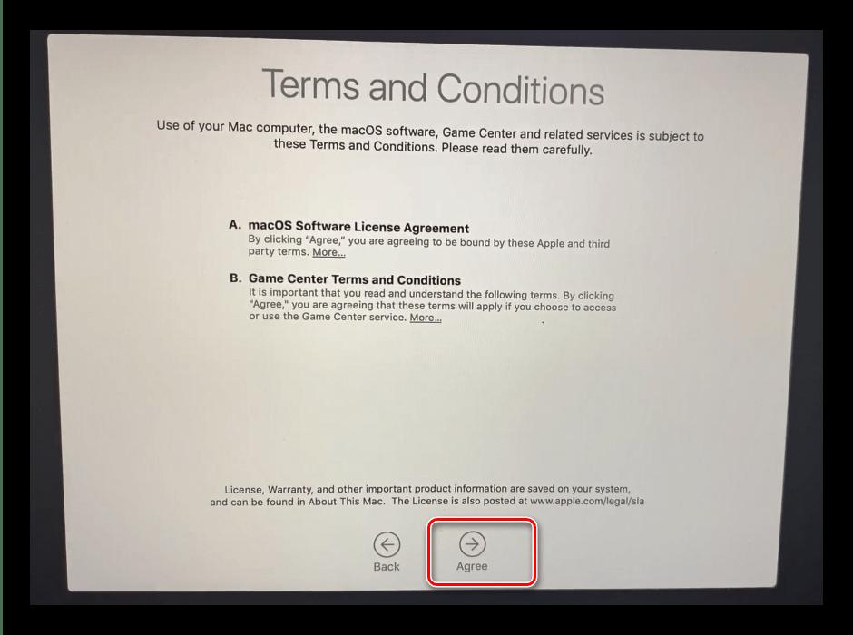 Лицензионное соглашение после инсталляции macOS с флешки