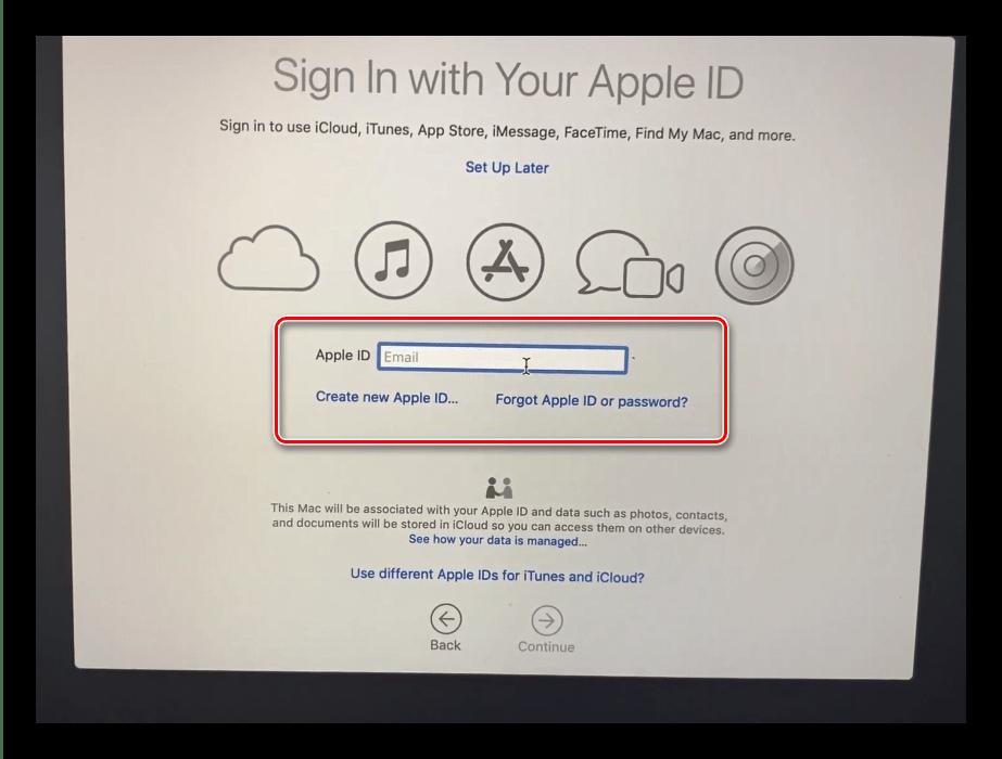 Подключение к AppleID после инсталляции macOS с флешки