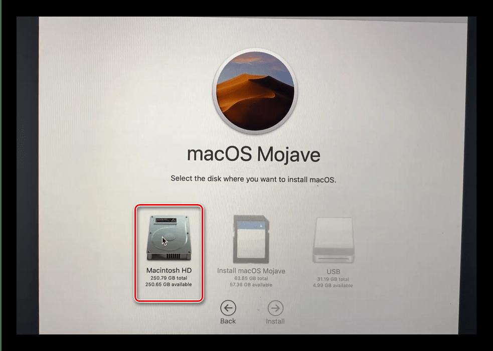 Выбрать диск для инсталляции в процессе установки macOS с флешки