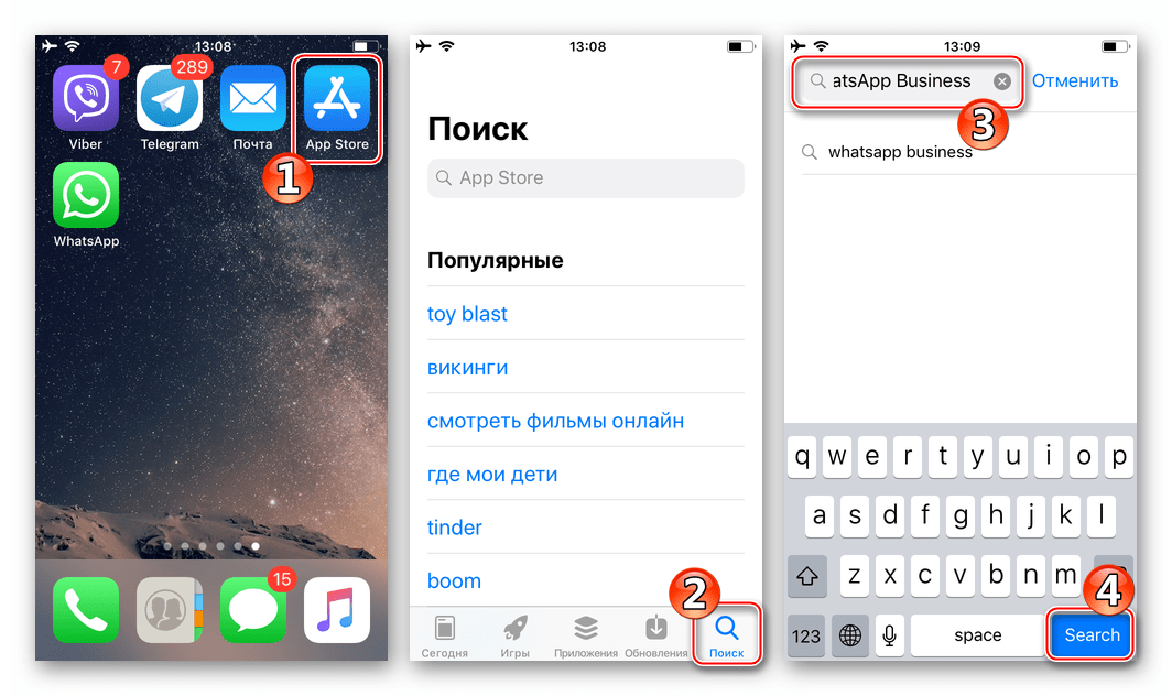WhatsApp Business для iOS поиск программы в Apple App Store