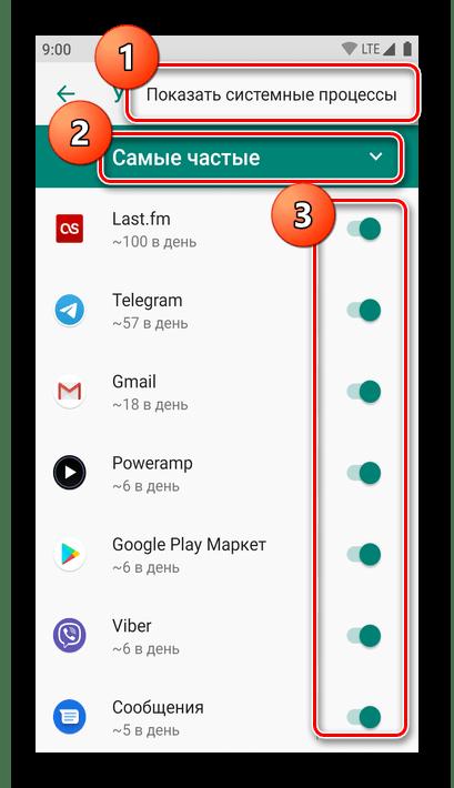 Отключение уведомлений через специальное меню на Android 9