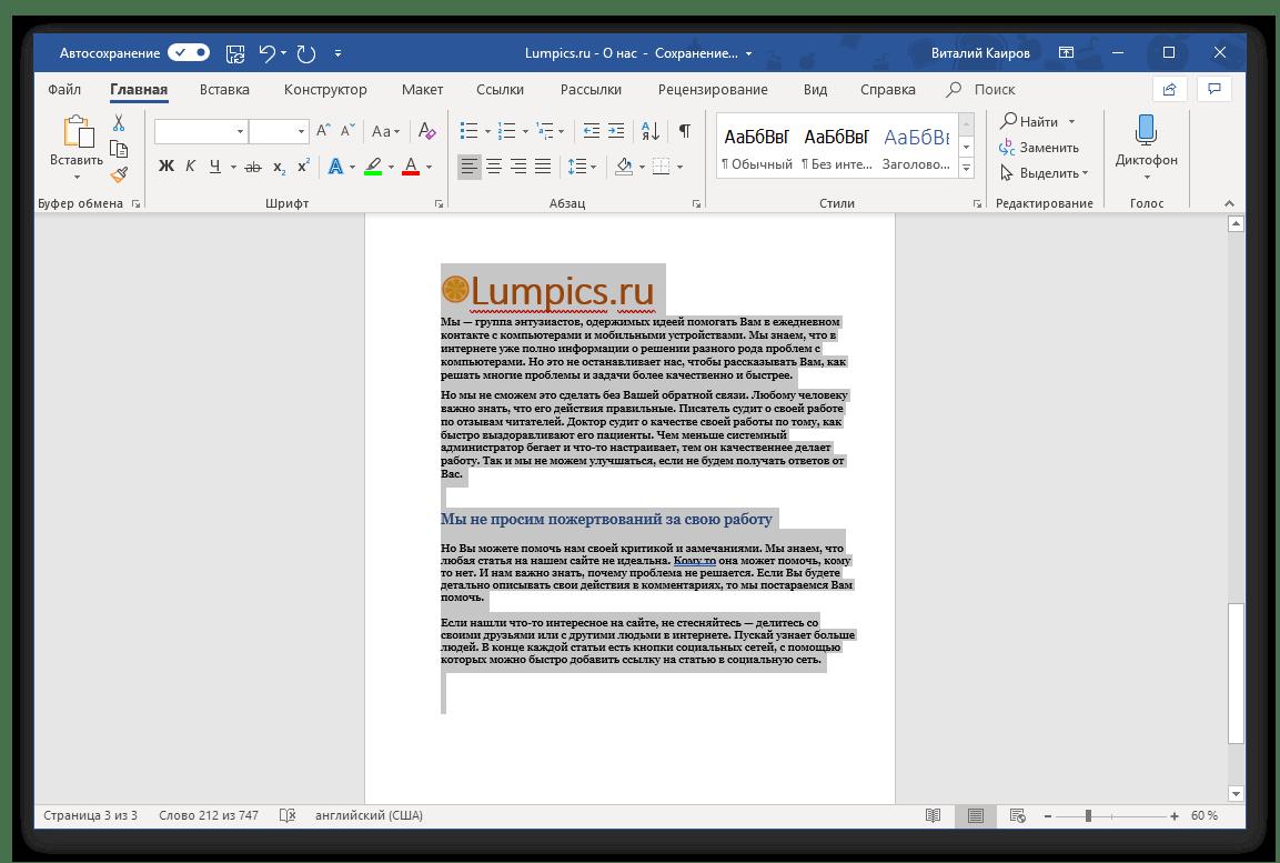 Пример последней выделенной страницы документа в программе Microsoft Word