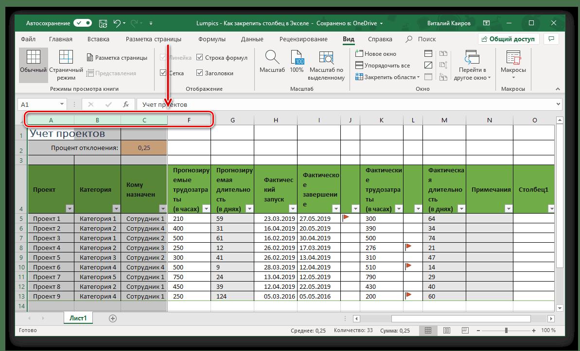 Пример успешного закрепления области столбцов в таблице Microsoft Excel