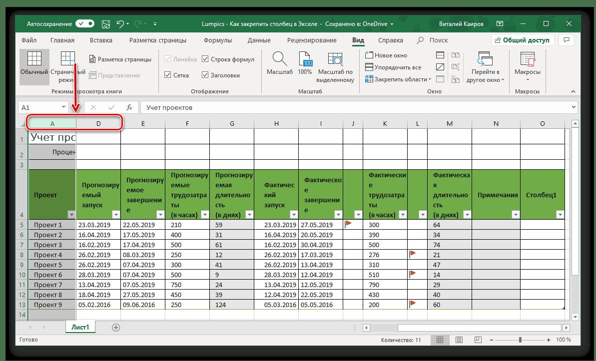 Успешное закрепление одного столбца в таблице Microsoft Excel