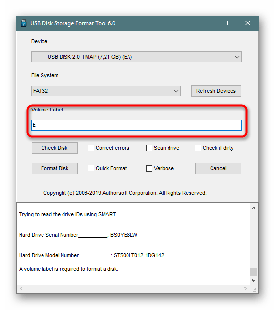 Установка метки тома перед форматированием в программе HP USB Disk Storage Format Tool