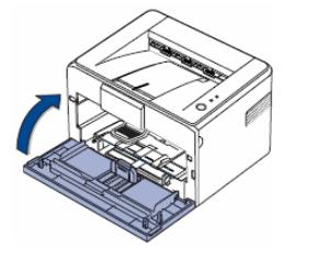 Закрытие крышки лазерного принтера Canon после установки нового картриджа
