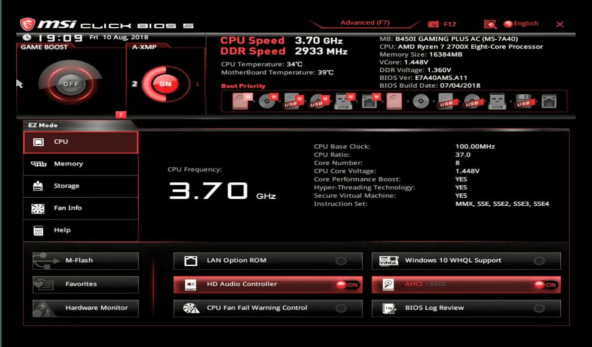 Общий вид интерфейса BIOS материнской платы MSI