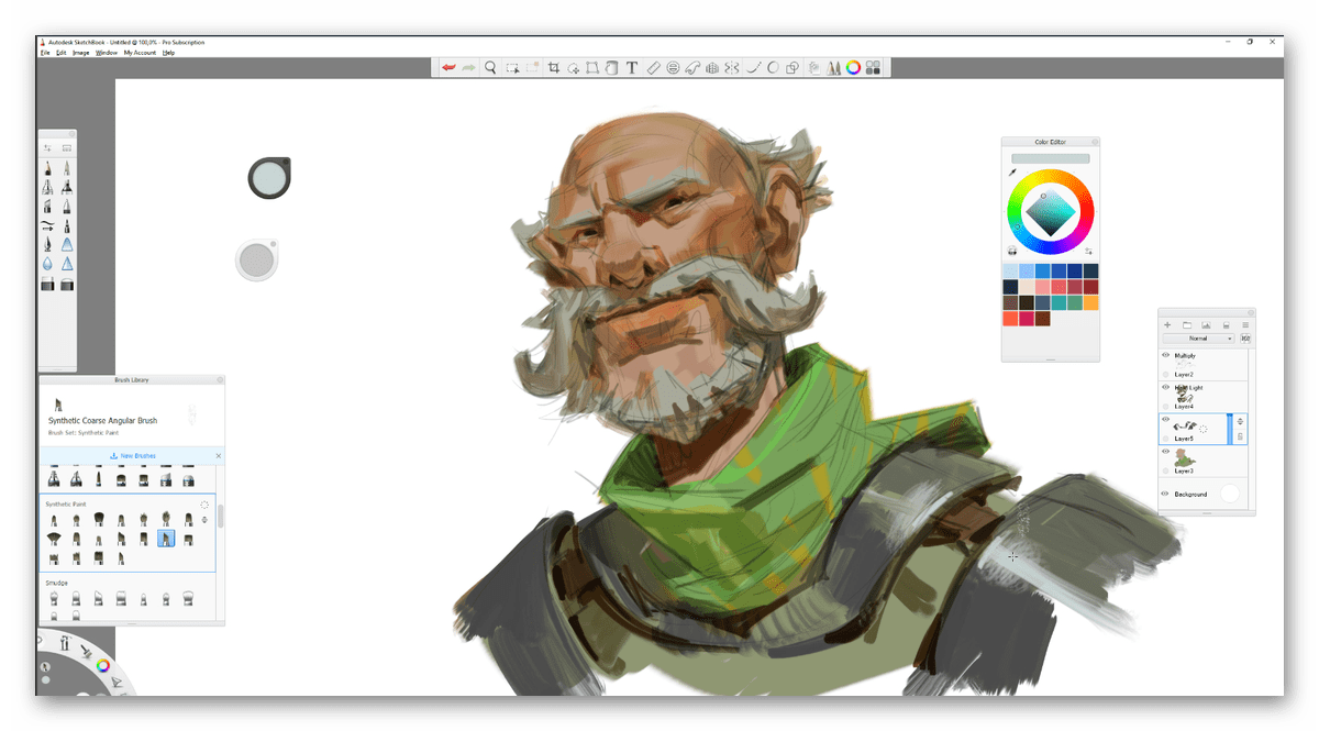 Процесс рисования в программе Autodesk SketchBook