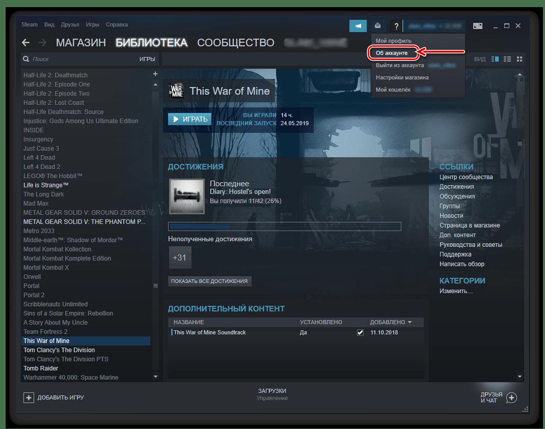 Просмотр сведений об аккаунте в Steam