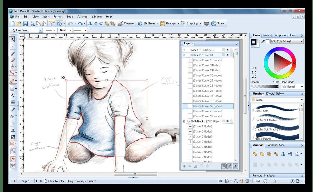 Работа в графическом редакторе Draw Plus Starter Edition