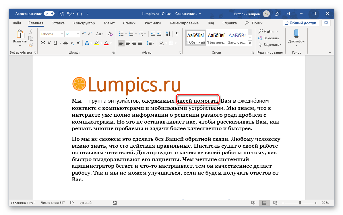 Результат добавления ударения посредством горячих клавиш в программе Microsoft Word