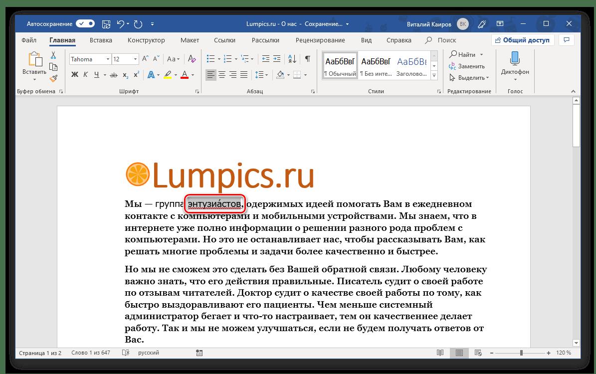 Ударение успешно добавлено над буквой в программе Microsoft Word