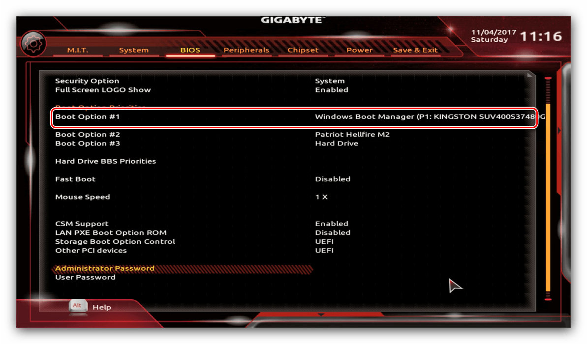 Выбор накопителя Gigabyte BIOS для установки диска в качестве основного носителя