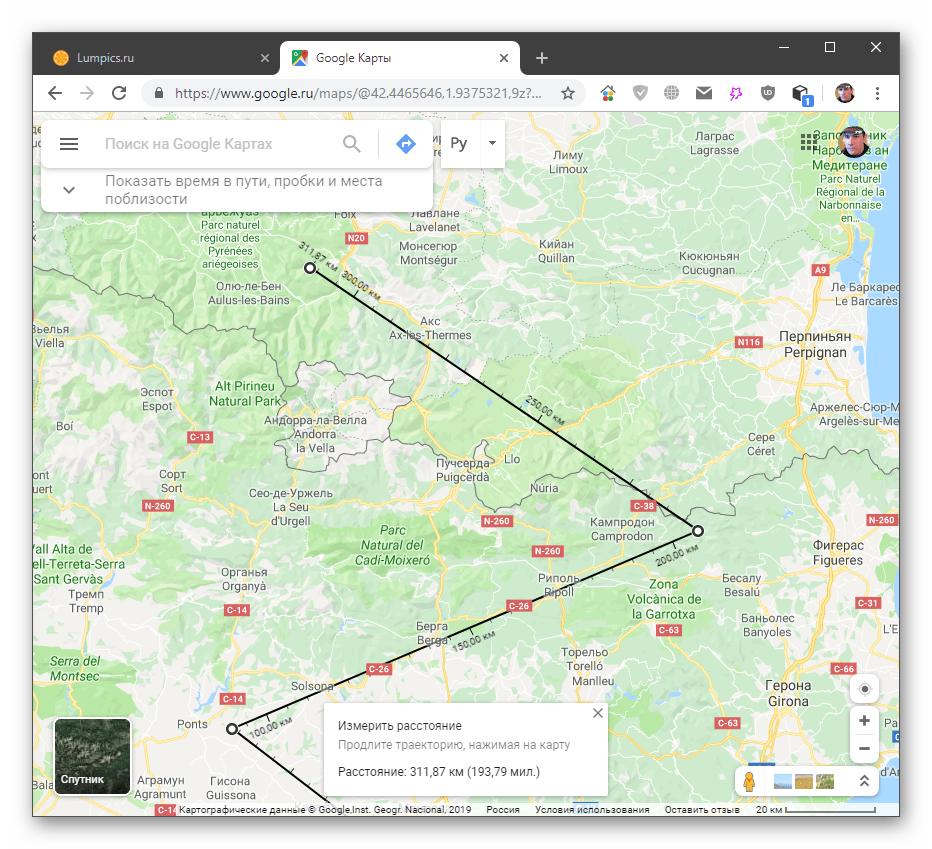Измерение расстояния между точками в настольной версии Google Maps
