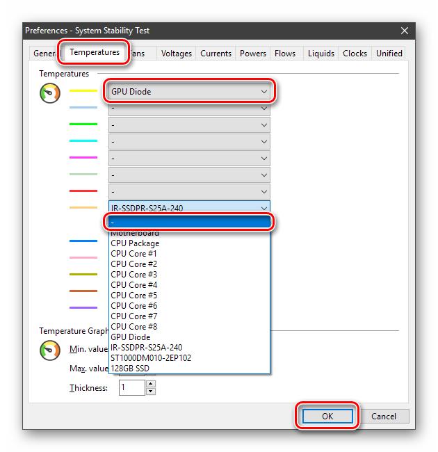 Настройка отображения данных мониторинга видеокарты в программе AIDA64