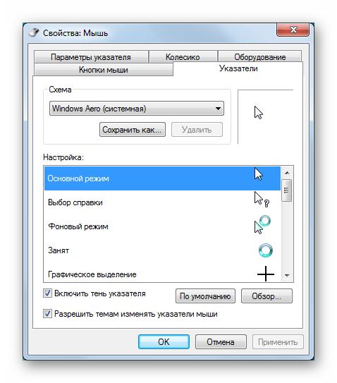 Настройка внешнего вида указателей мыши в разделе Персонализация в Windows 7