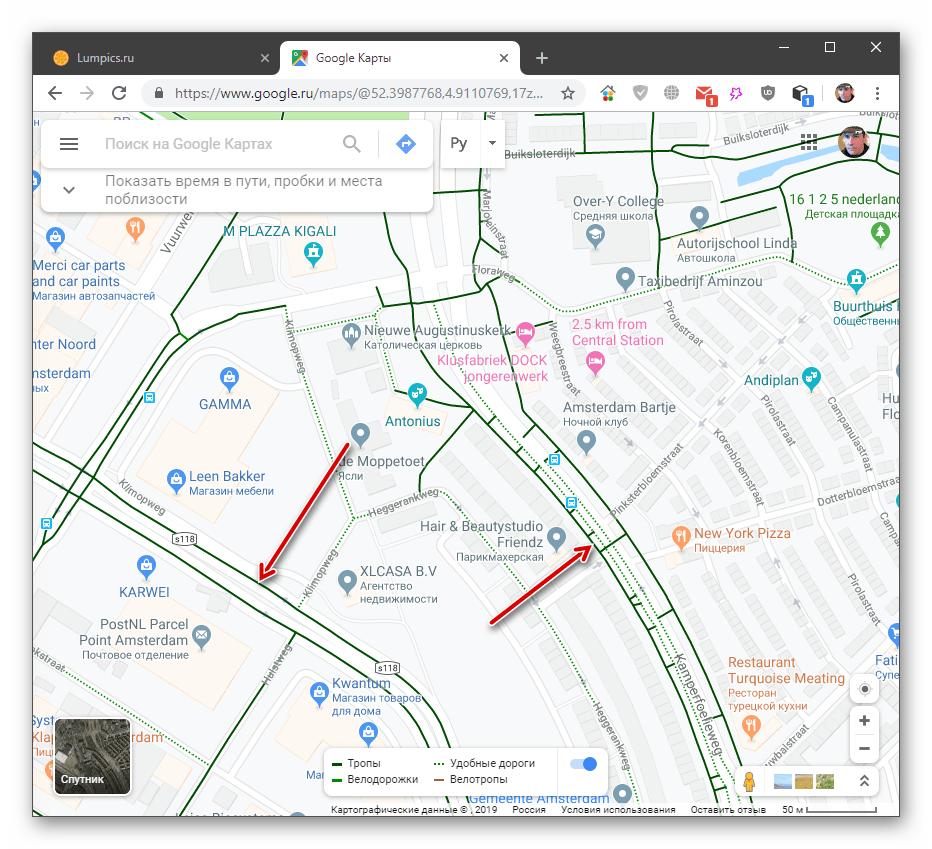 Отображение велосипедных дорожек в настольной версии Google Maps