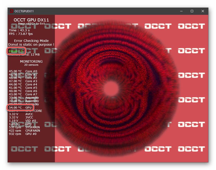 Показания температуры и количество ошибок при проведении стресс-теста видеокарты в программе OCCT