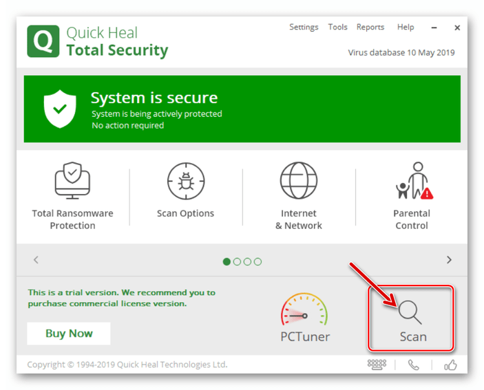Quick Heal Total Security начало сканирования девайсов с помощью программы