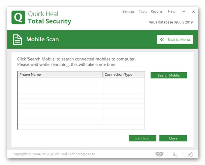 Quick Heal Total Security подключение Android-устройства к ПК для сканирования на вирусы