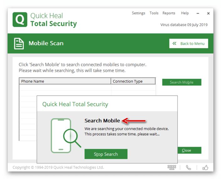 Quick Heal Total Security процесс обнаружения Андроид-девайса антивирусом