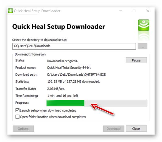 Quick Heal Total Security процесс загрузки компонентов инсталлятора приложения