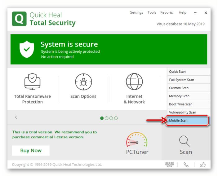 Quick Heal Total Security выбор Mobile Scan в меню возможностей антивирусного средства для анализа Android