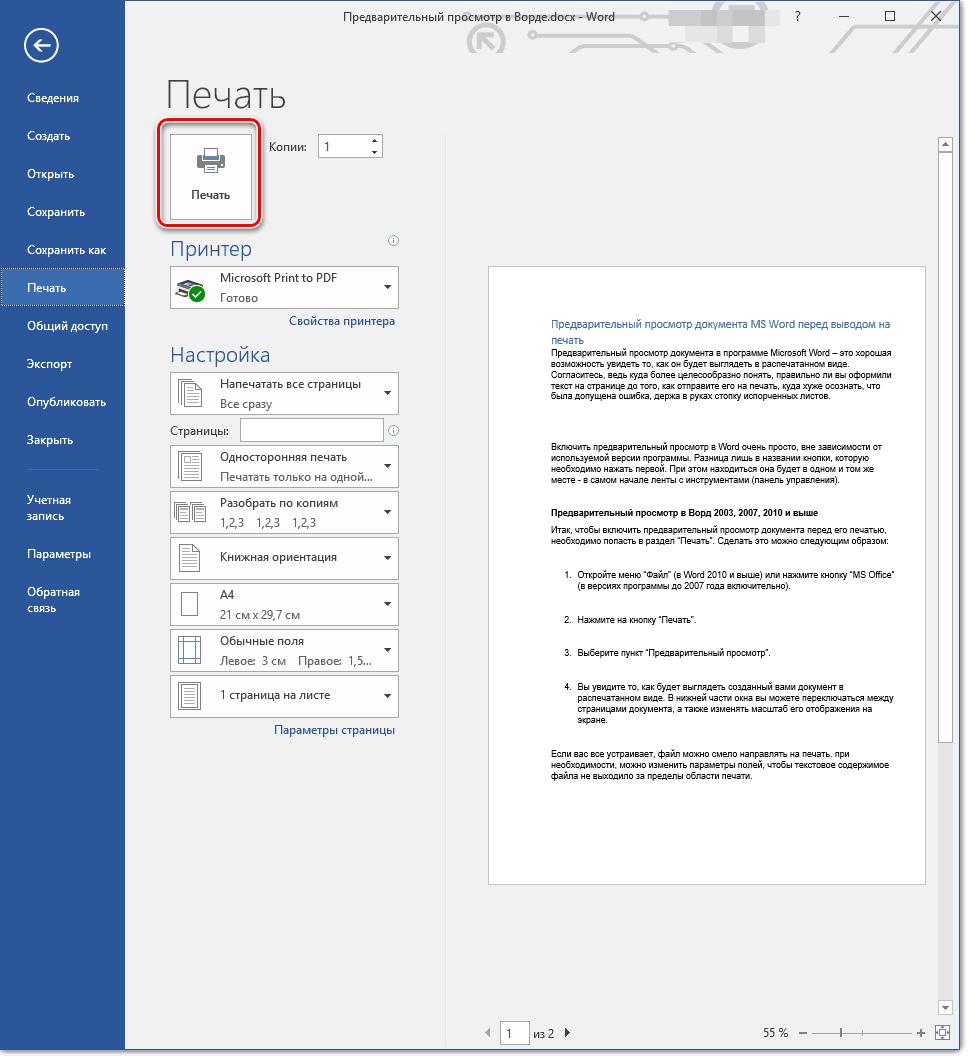 Распечатать документ из окна предварительного просмотра в Microsoft Word