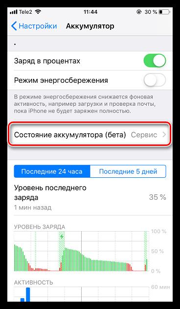 Состояние аккумулятора на iPhone