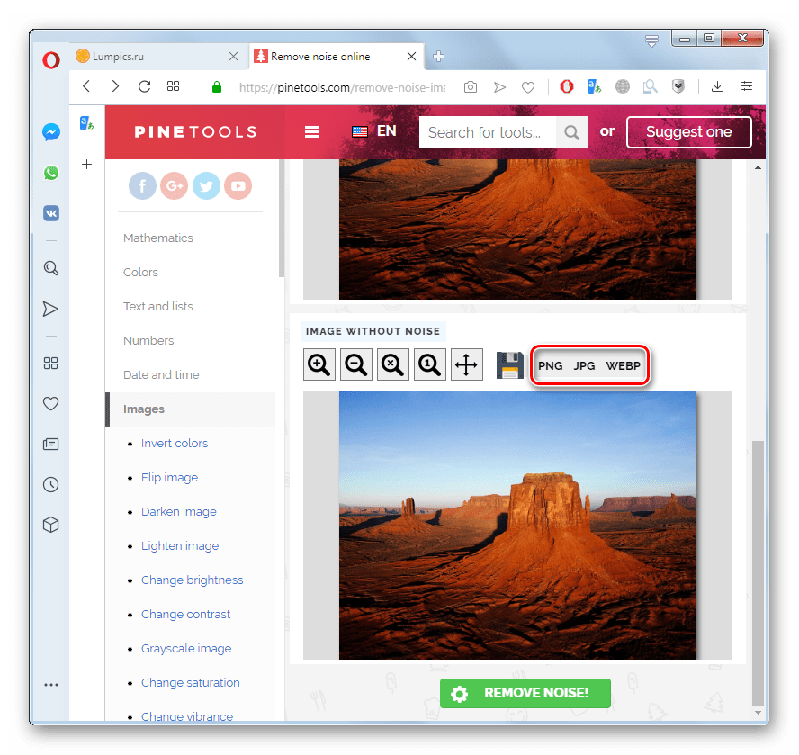 Запуск загрузки преобразованной фотографии на компьютер на сервисе Pinetools в браузере Opera