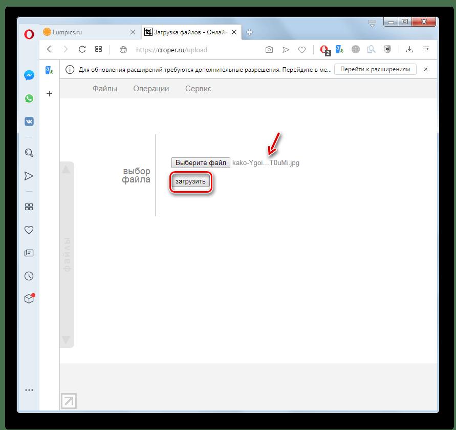 Запуск загрузки проблемного изображения на сервис Croper в браузере Opera