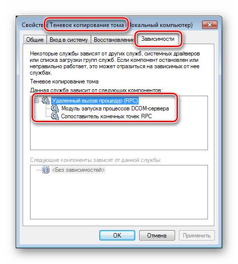 Проверка зависимостей системной службы Теневое копирование тома в Windows 7