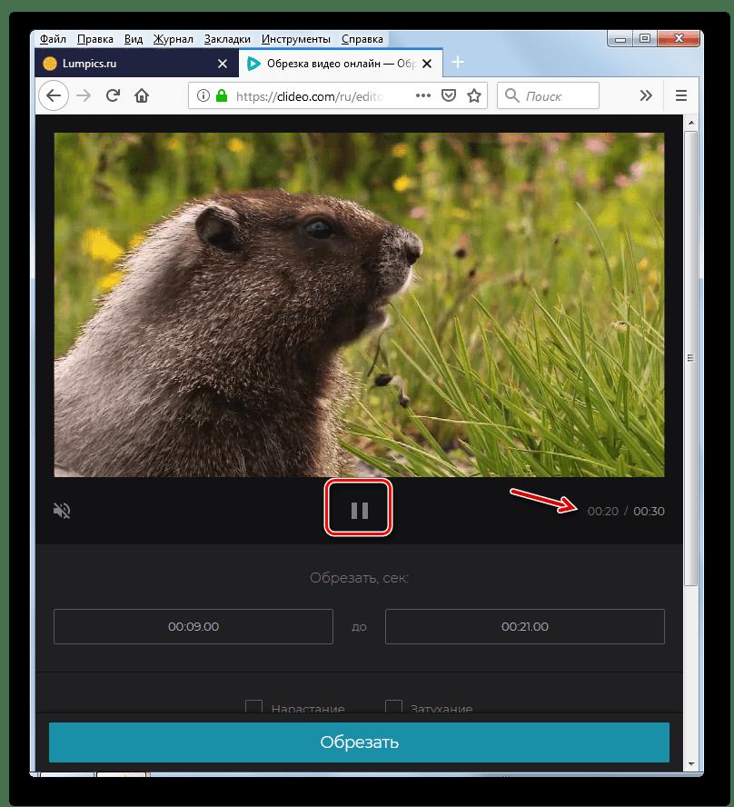Остановка проигрывания видео на сервисе Clideo в веб-обозревателе Mozilla Firefox