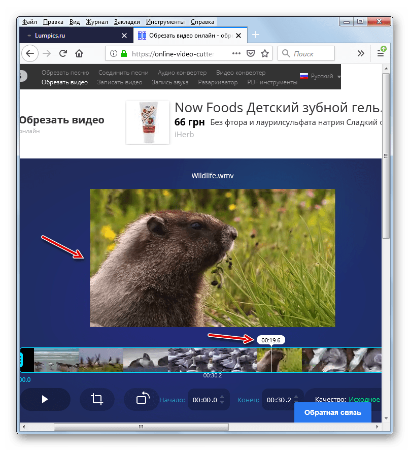 Выбор кадра по маркеру времени сервисе Online Video Cutter в веб-обозревателе Mozilla Firefox