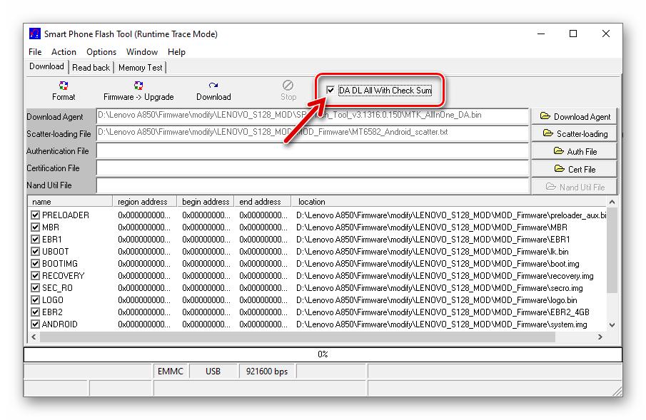 Lenovo A850 Flash Tool v3 опция DA DL All With Check Sum