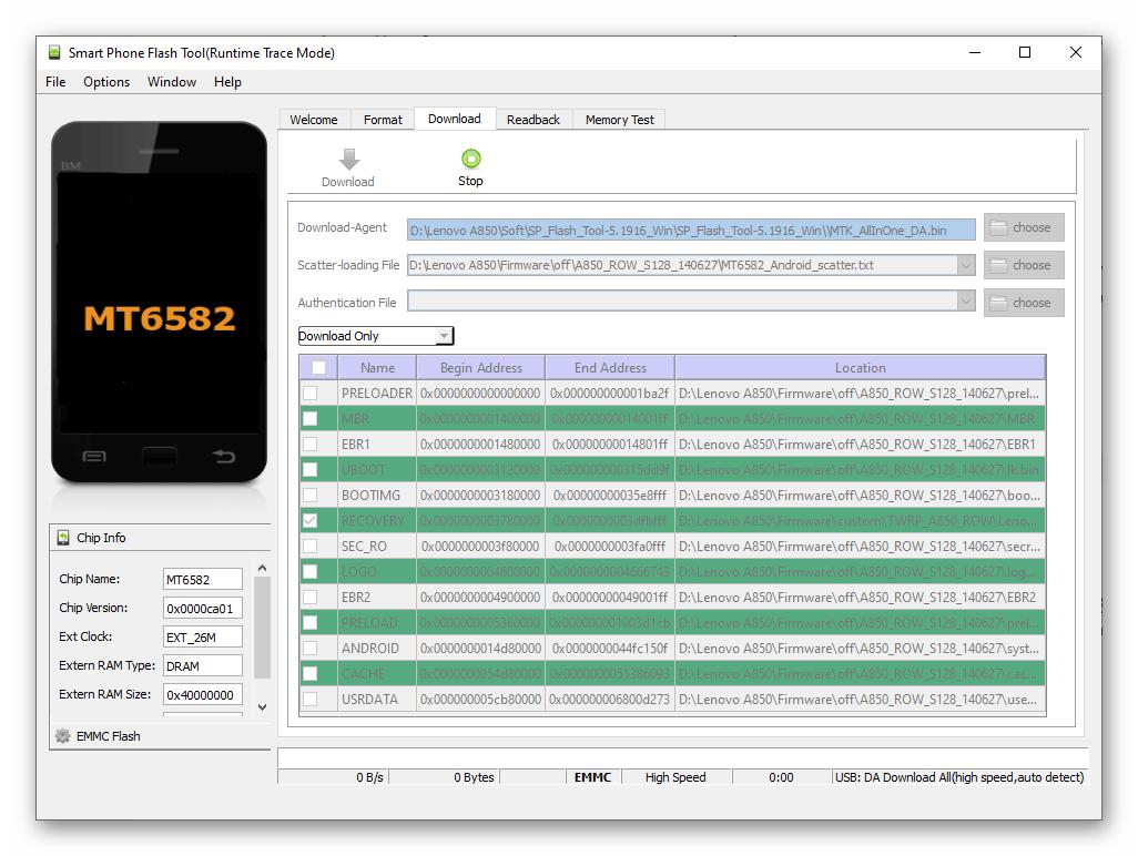 Lenovo A850 Подключение смартфона к ПК для установки TWRP через SP Flash Tool
