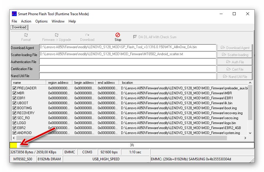 Lenovo A850 процесс установки модифицированной прошивки через SP Flash Tool v3