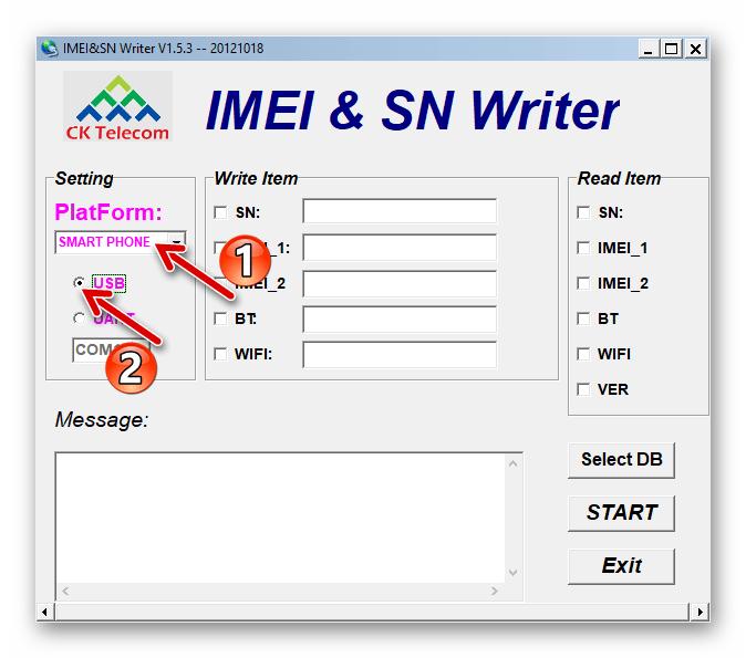 Lenovo A850 выбор настроек утилиты IMEI&SN Writer