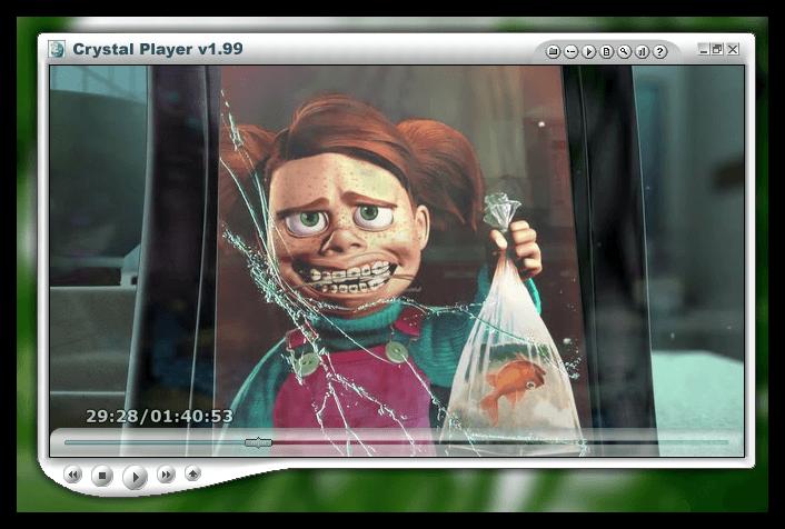 Необычный внешний вид проигрывателя Crystal Player на компьютере
