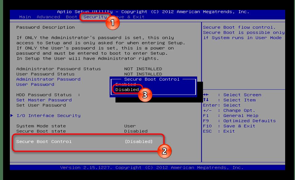 Отключение Secure Boot через BIOS материнской платы Windows 7