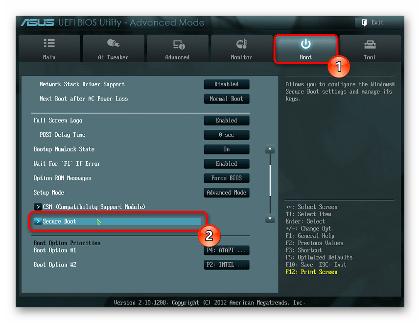 Отключение Secure Boot через современный UEFI