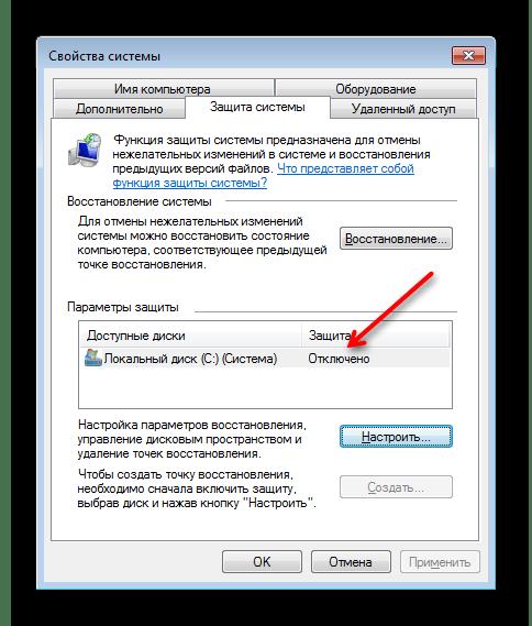 Отключенное восстановление системы в Windows 7