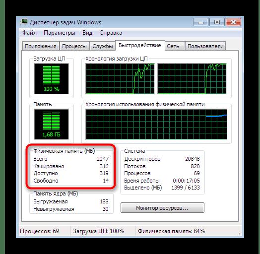 Просмотр общих сведений об оперативной памяти в диспетчере задач Windows 7